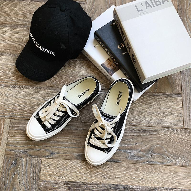 itGirl Shop CASUAL WHITE TOE LACE UP CANVAS SNEAKERS