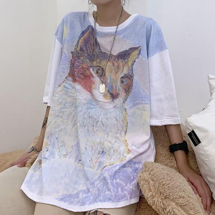 itGirl Shop CAT CARTOON OIL PAINTING OVERSIZED T-SHIRT