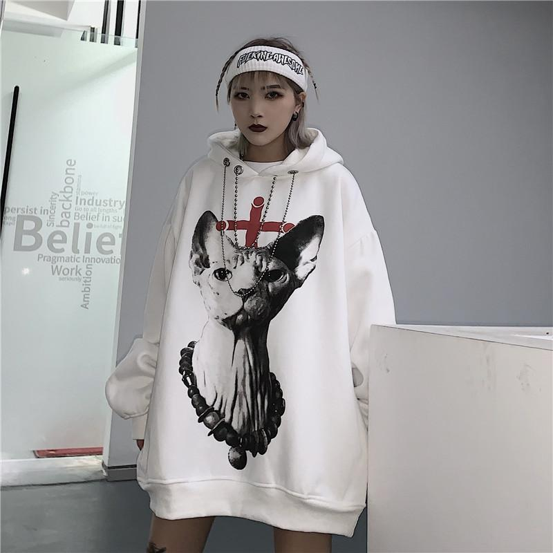 itGirl Shop CAT PRINTED GOTH AESTHETIC OVERSIZED WHITE HOODIE