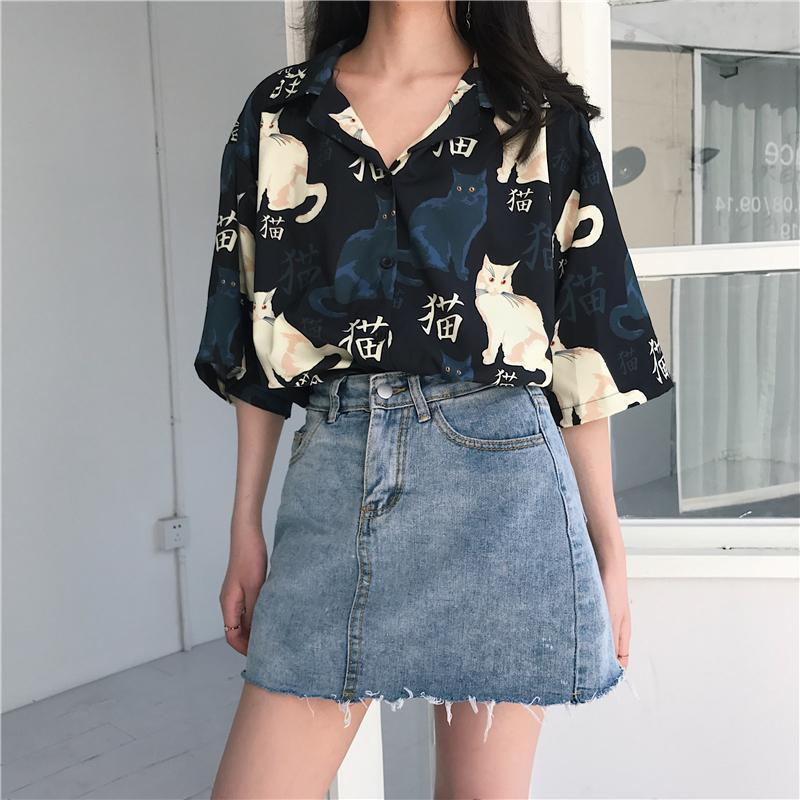 itGirl Shop CATS PATTERN SUMMER SHORT SLEEVE BLOUSE