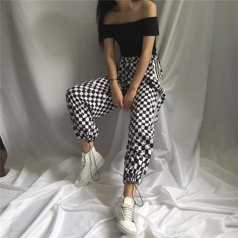 itGirl Shop CHECKER GRID BLACK WHITE OVERSIVED SPORTISH GRUNGE PANTS