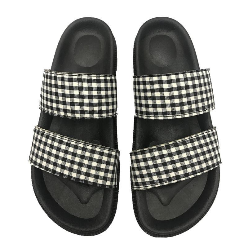 itGirl Shop CHECKERED BLACK PU SUMMER FLAT RUBBER SANDALS