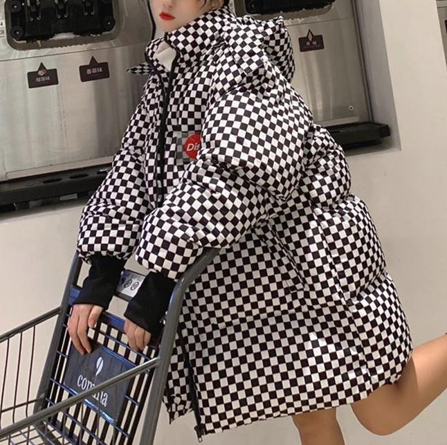 itGirl Shop CHECKERED PUFF HOODED TUMBLR AESTHETIC LOOSE JACKET