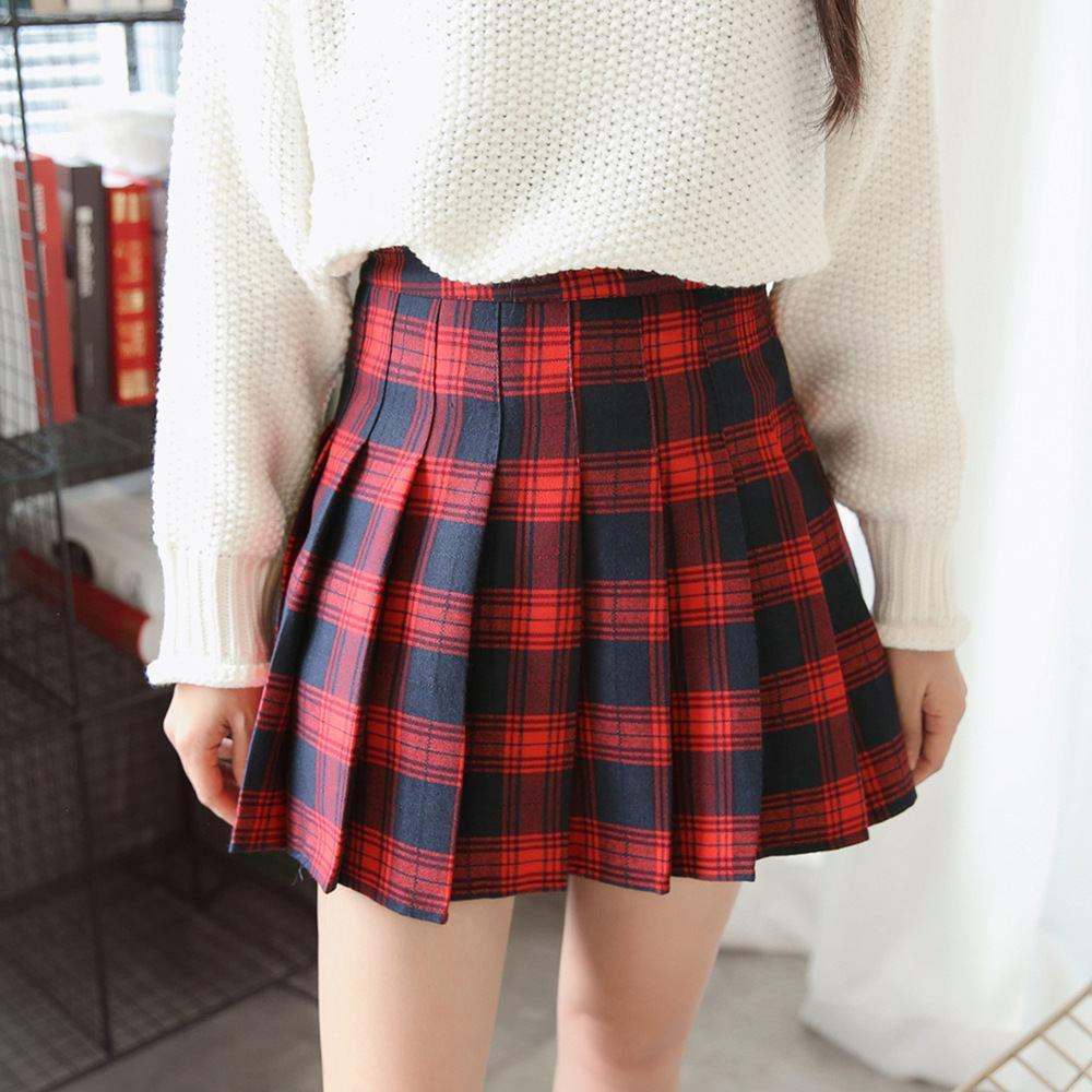 itGirl Shop CHECKERED SCHOOL RED WHITE PLAID PLEATED ABOVE KNEE SKIRT