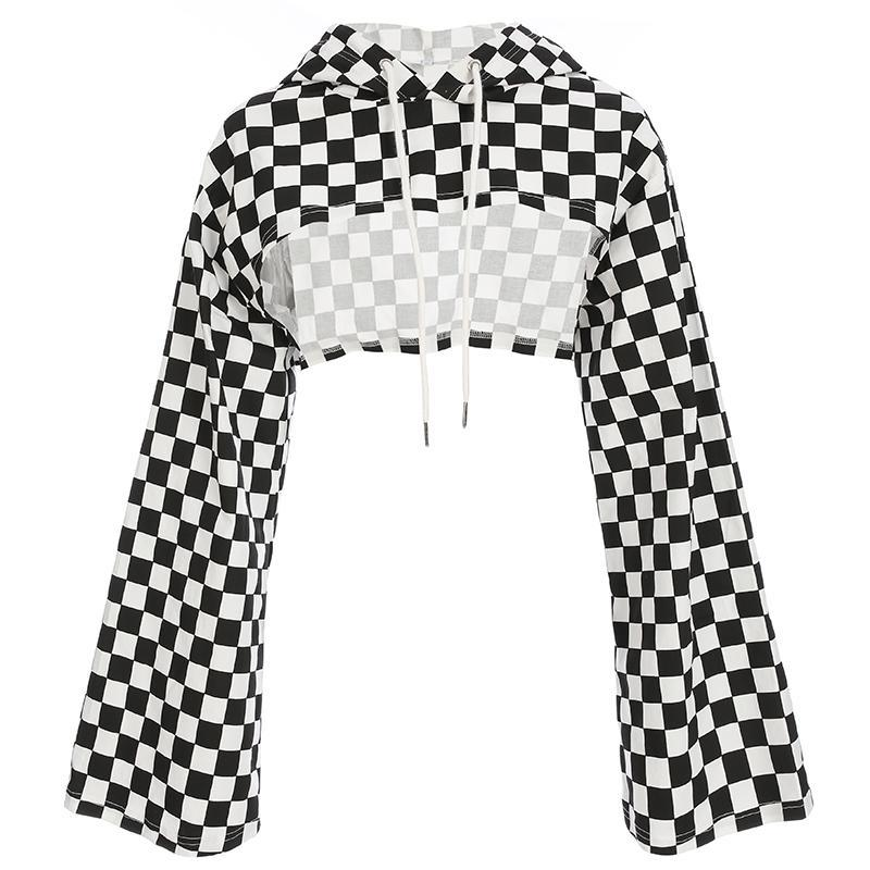 itGirl Shop CHECKERED SUPER CROPPED LONG SLEEVED THIN HOODIE