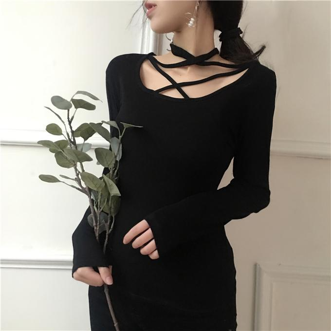 itGirl Shop CHEST STRAPPY COTTON KNIT BLACK WHITE LONG SLEEVE BLOUSE