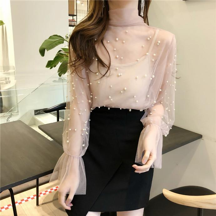 itGirl Shop CHIFFON LIGHT LONG SLEEVE NECK BOW PEARLS BEANS BLOUSE