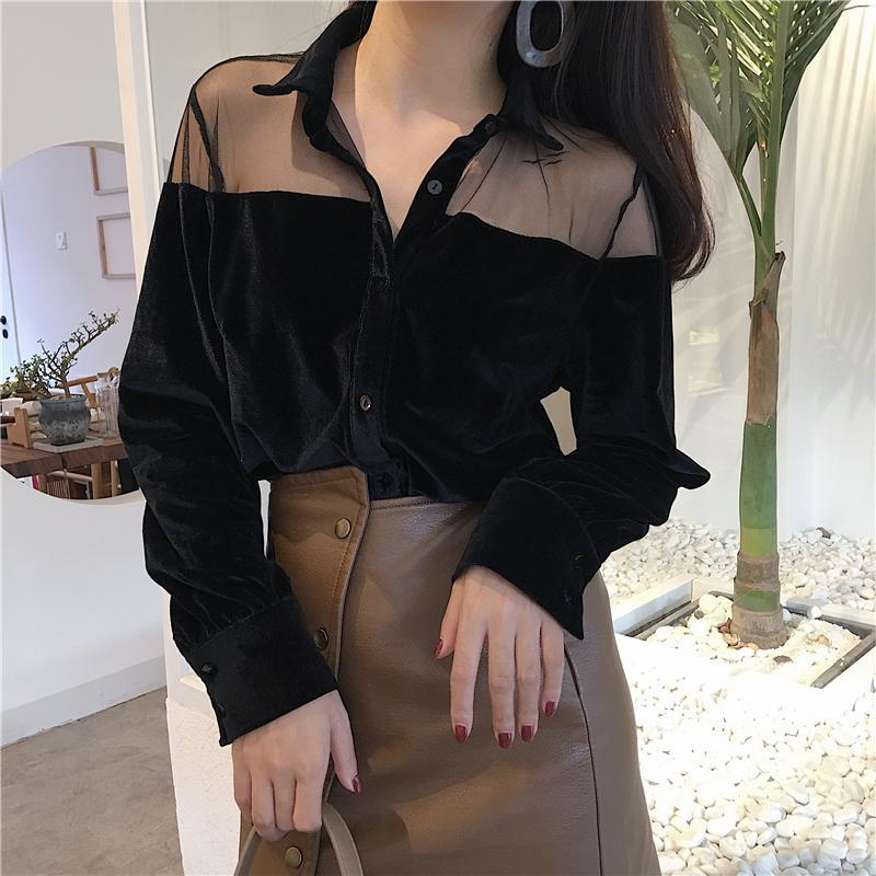itGirl Shop CHIFFON SHOULDERS VELVET COLLAR BUTTONS LONG SLEEVE BLOUSE