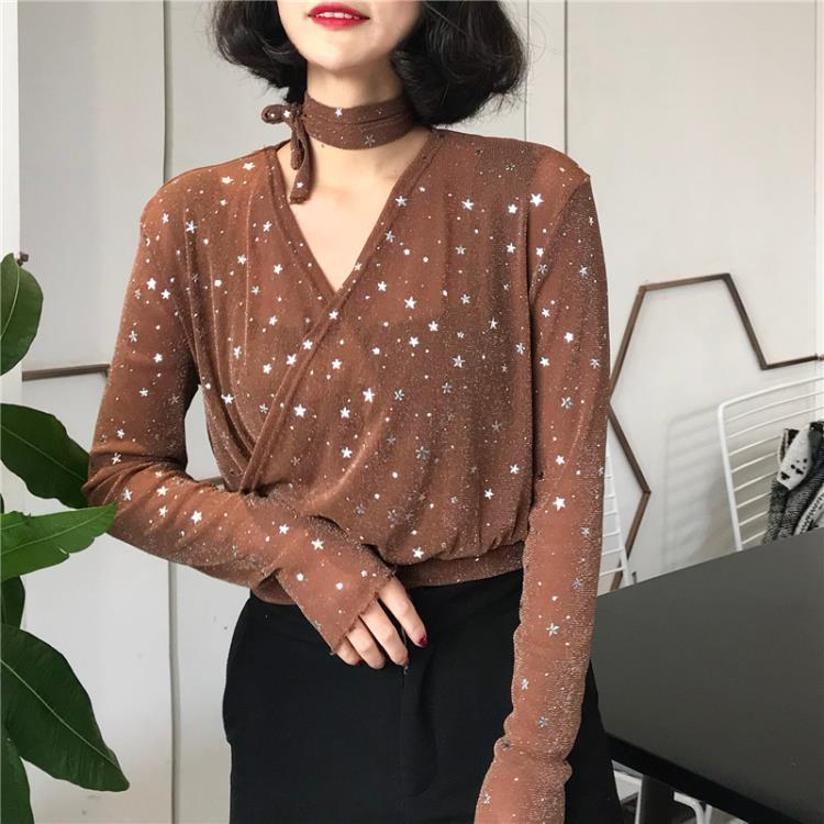 itGirl Shop CHIFFON STARS CHOKER LONG SLEEVE V OVERWHELMING BLOUSE