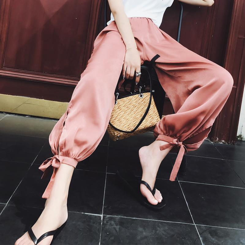 itGirl Shop CHIFFON SUMMER LIGHT PINK BLACK ELEGANT PANTS