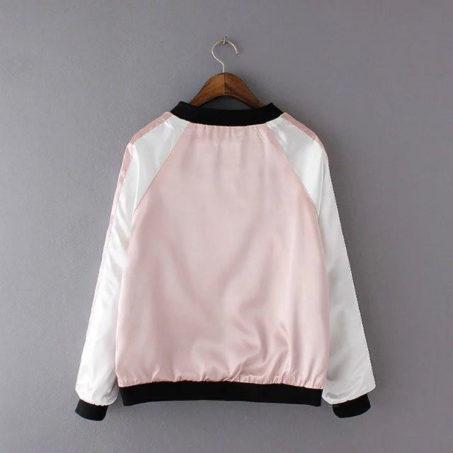 itGirl Shop CHINA FLORAL EMBROIDERY SILK BOMBER JACKET