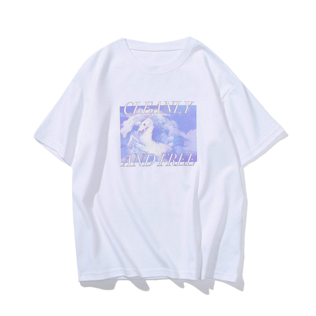 itGirl Shop CLEANY AND FREE UNICORN PRINTED WHITE T-SHIRT