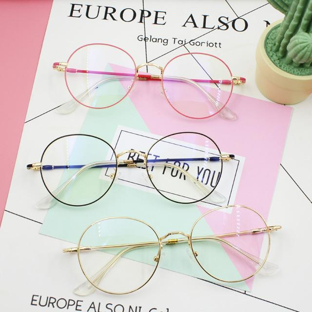 itGirl Shop CLEAR ROUND FRAGILE FRAME CUTE GLASSES
