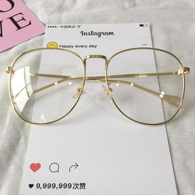 itGirl Shop CLEAR ROUND SQUARE METALLIC FRAME KOREAN GLASSES