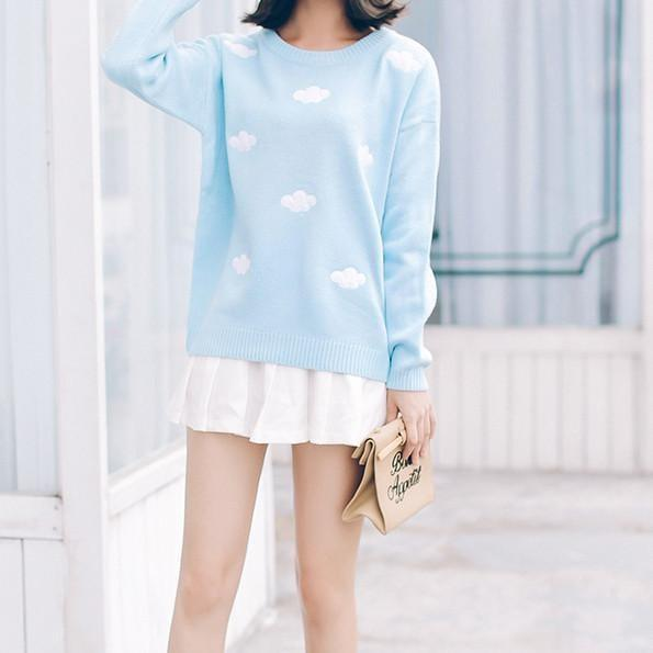 itGirl Shop CLOUDS EMBROIDERY LONGSLEEVE LOOSE SWEATER