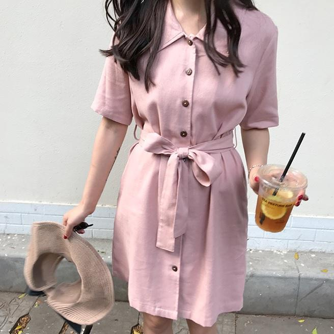 itGirl Shop COLLAR PINK COAT STYLE SHORT SLEEVE WAIST BELT DRESS