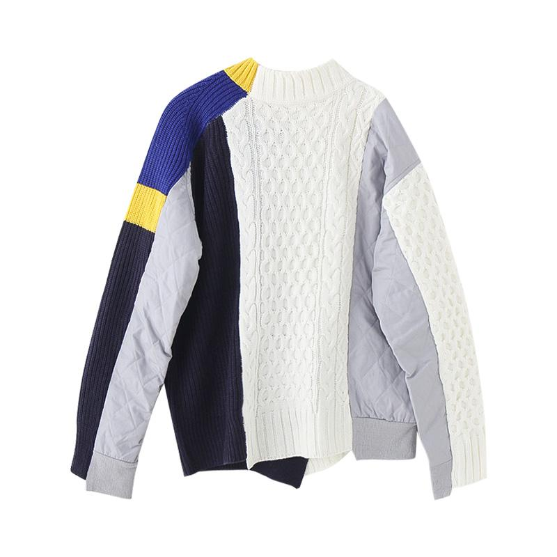 itGirl Shop COLOR BLOCK KNIT STITCHING ZIPPER BOMBER JACKET