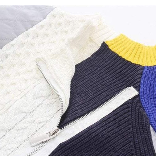 COLOR BLOCK KNIT STITCHING ZIPPER BOMBER JACKET