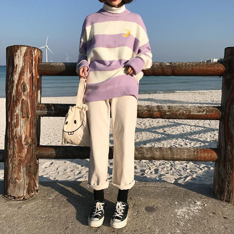 itGirl Shop COLOR STRIPES KNIT HIGH NECK MOON EMBROIDERY SWEATER