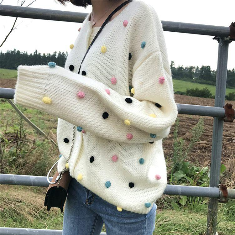 itGirl Shop COLORDUL PLUSH BALLS KNIT AESTHETIC CARDIGAN