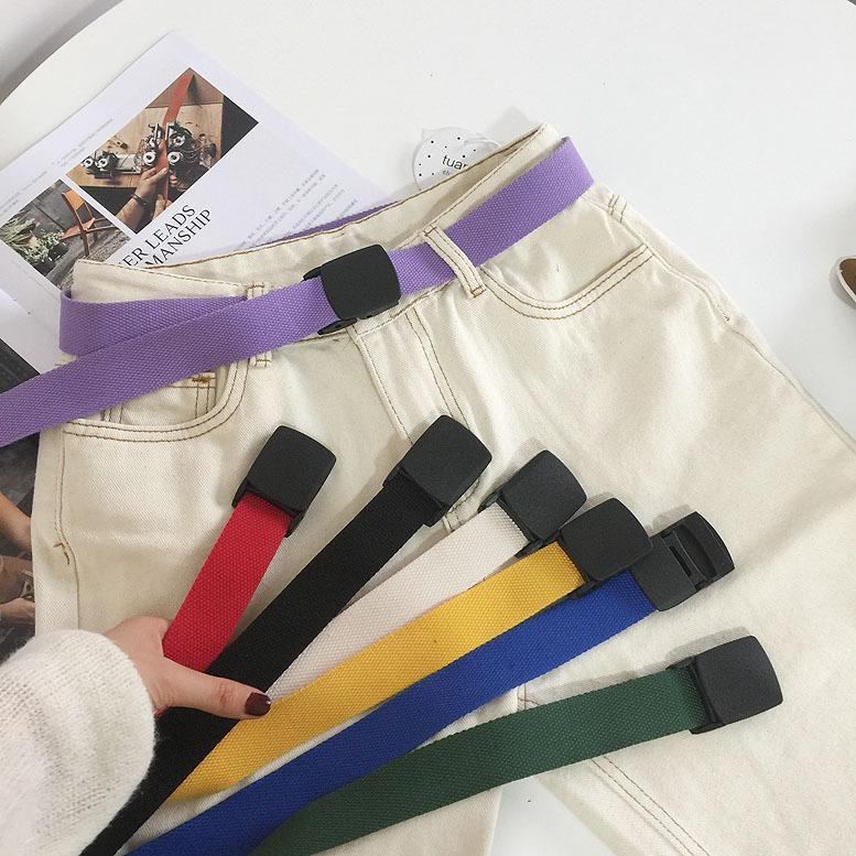 COLORFUL 90s PLASTIC BUCKLE CANVAS BELT