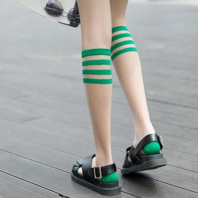 itGirl Shop COLORFUL AESTHETIC KNEE-HIGH THIN TRANSPARENT SOCKS