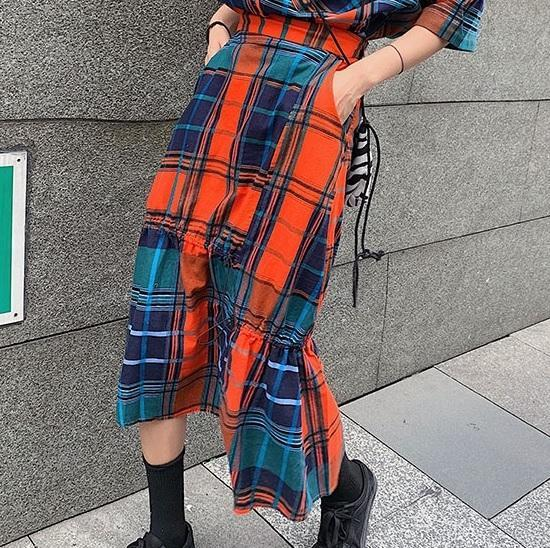 itGirl Shop COLORFUL AESTHETIC PLAID SHIRT + MIDI IRREGULAR SKIRT