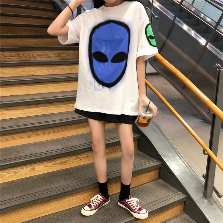 itGirl Shop COLORFUL ALIEN FACE PRINT RAVE LOOSE WHITE T-SHIRT