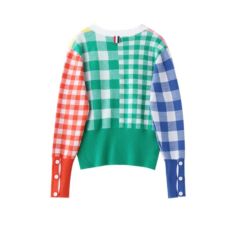 itGirl Shop COLORFUL CHECKERED RAINBOW V-NECK KNITTED CARDIGAN
