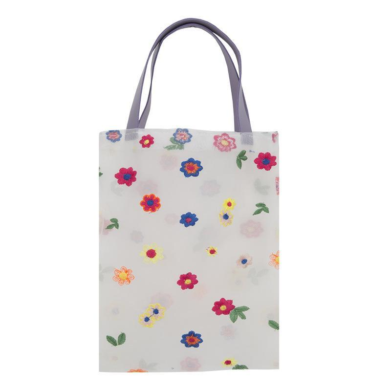 itGirl Shop COLORFUL EMBROIDERED FLOWERS TRANSPARENT MESH TOTE BAG