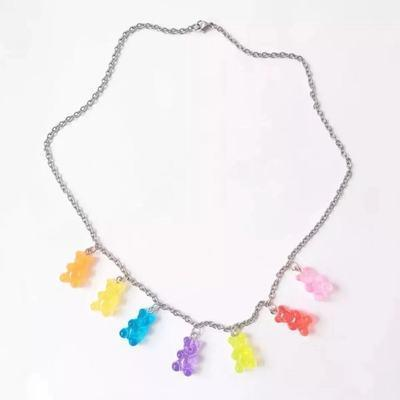 itGirl Shop COLORFUL JELLY CANDY BEAR NECKLACE BRACELET