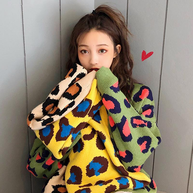 itGirl Shop COLORFUL LEOPARD PATTERN KNIT LOOSE SWEATER