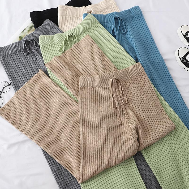 itGirl Shop COLORFUL PASTEL AESTHETIC RIBBED KNIT ELASTIC PANTS
