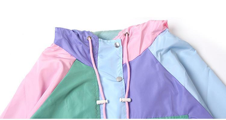 itGirl Shop COLORFUL PATCHES RAINY JACKET