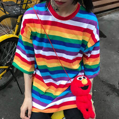 COLORFUL RAINBOW STRIPED ROUND NECK LOOSE T-SHIRT