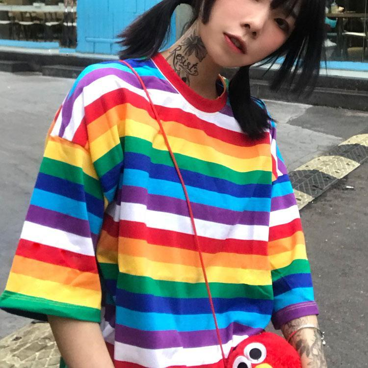itGirl Shop COLORFUL RAINBOW STRIPED ROUND NECK LOOSE T-SHIRT