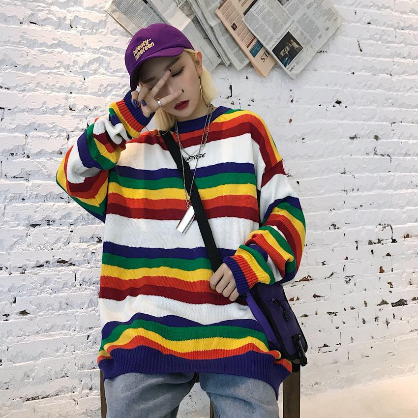 itGirl Shop COLORFUL RAINBOW STRIPES KNIT LOOSE BLACK WHITE SWEATER