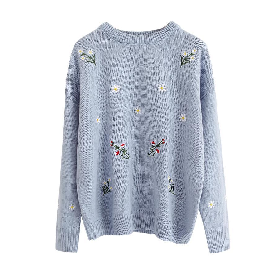 itGirl Shop COLORFUL SMALL FLOWERS FRONT EMBROIDERIES KNIT COZY SWEATER