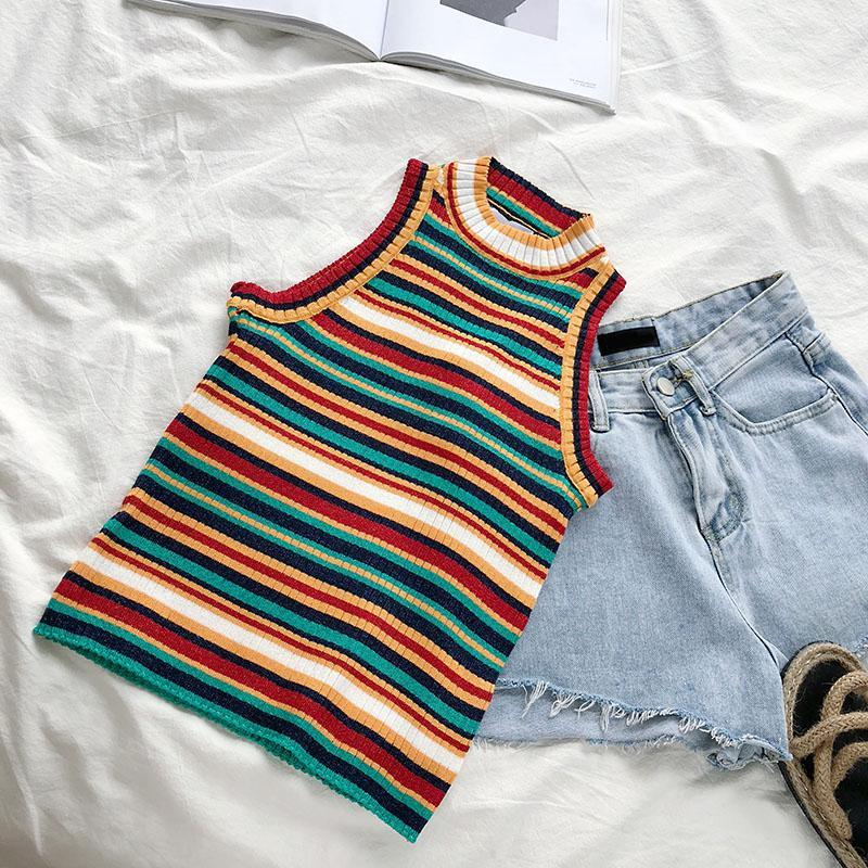 itGirl Shop COLORFUL STRIPE KNIT SLIM TANK TOP