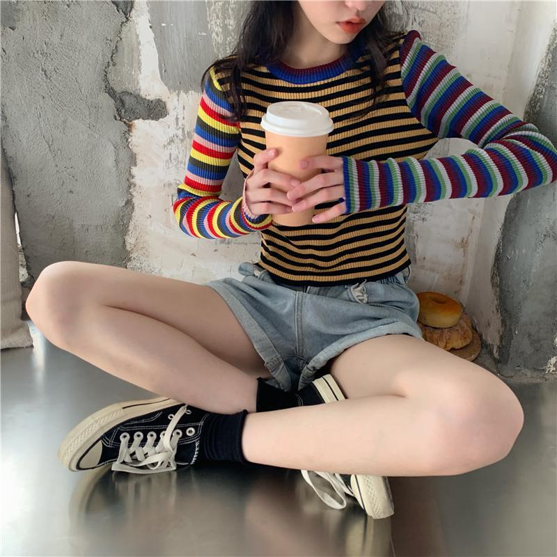 itGirl Shop COLORFUL STRIPES 90s RIBBED LONG SLEEVE CROP TOP