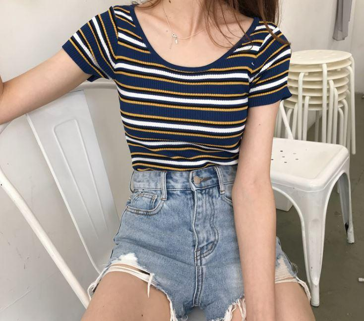 itGirl Shop COLORFUL STRIPES ROUND NECK COTTON CROP TOP