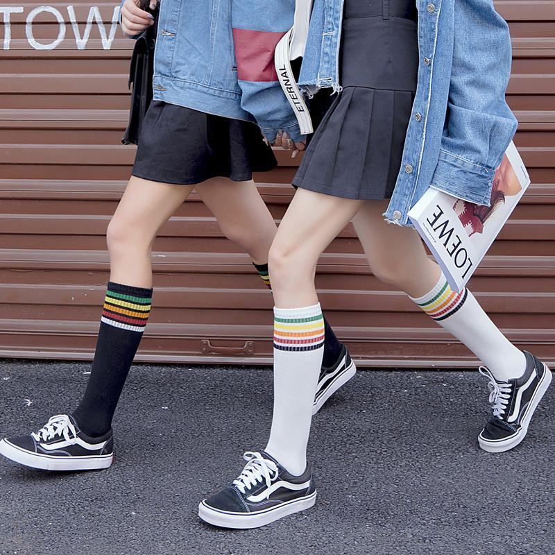 itGirl Shop COLORFUL STRIPES TEENAGE FASHION RIBBED HIGH SOCKS