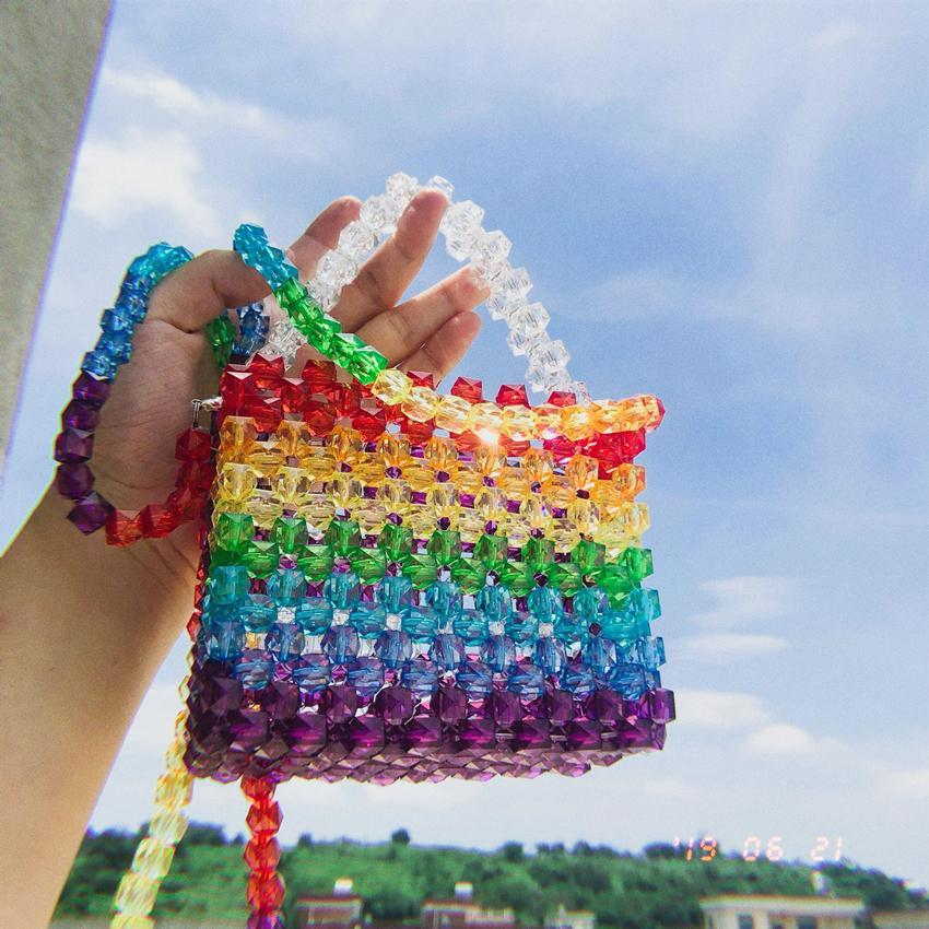 itGirl Shop COLORFUL TRANSPARENT BEADS CROSSBODY MINI PURSE BAG