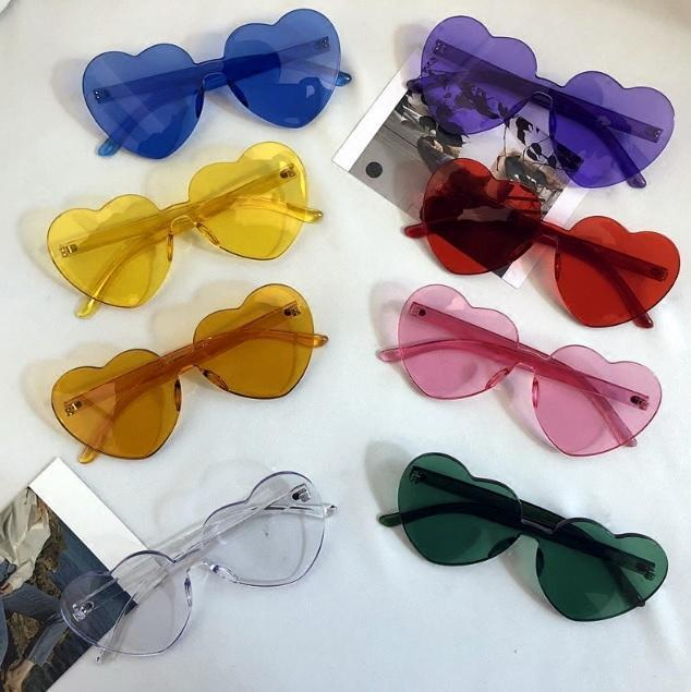 itGirl Shop COLORFUL TRANSPARENT ROUND HEART SHAPE FRAMELESS SUNGLASSES