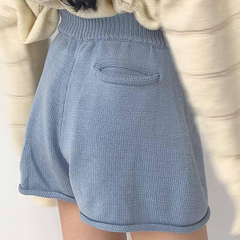 itGirl Shop COMFY BASIC KNITTED ELASTIC WAIST SHORTS