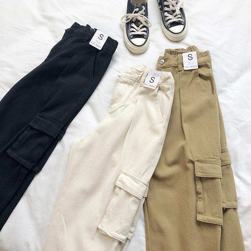 itGirl Shop COMFY BIG POCKETS HIGH WAIST CARGO PANTS
