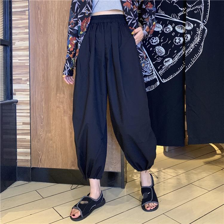 COMFY SOLID COLORS ELASTIC WAIST LOOSE HAREM PANTS