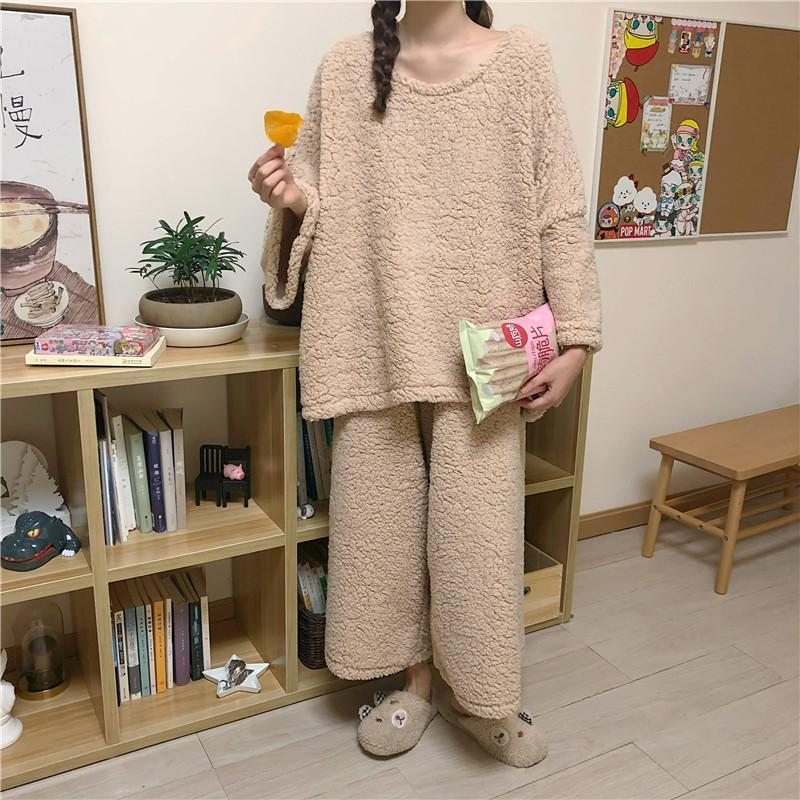 itGirl Shop COMFY SOLID COLORS SWEATSHIRT + PANTS LOOSE PAJAMA SET