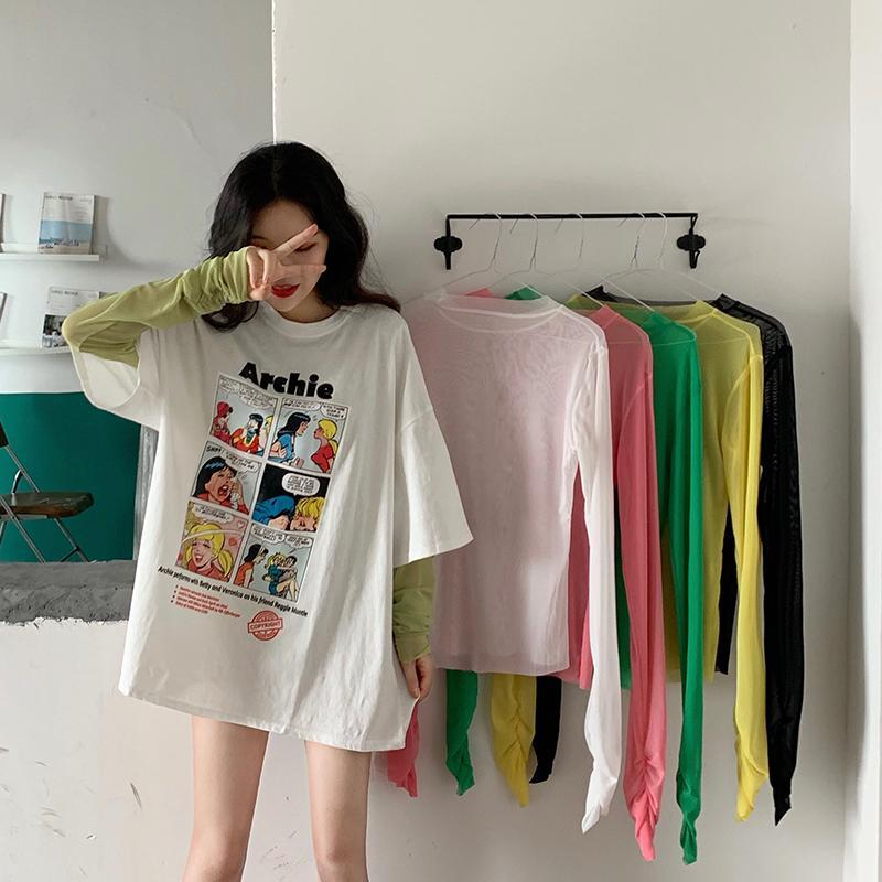 COMIX CARTOON PRINT T-SHIRT + TRANSPARENT LONG SLEEVE TOP
