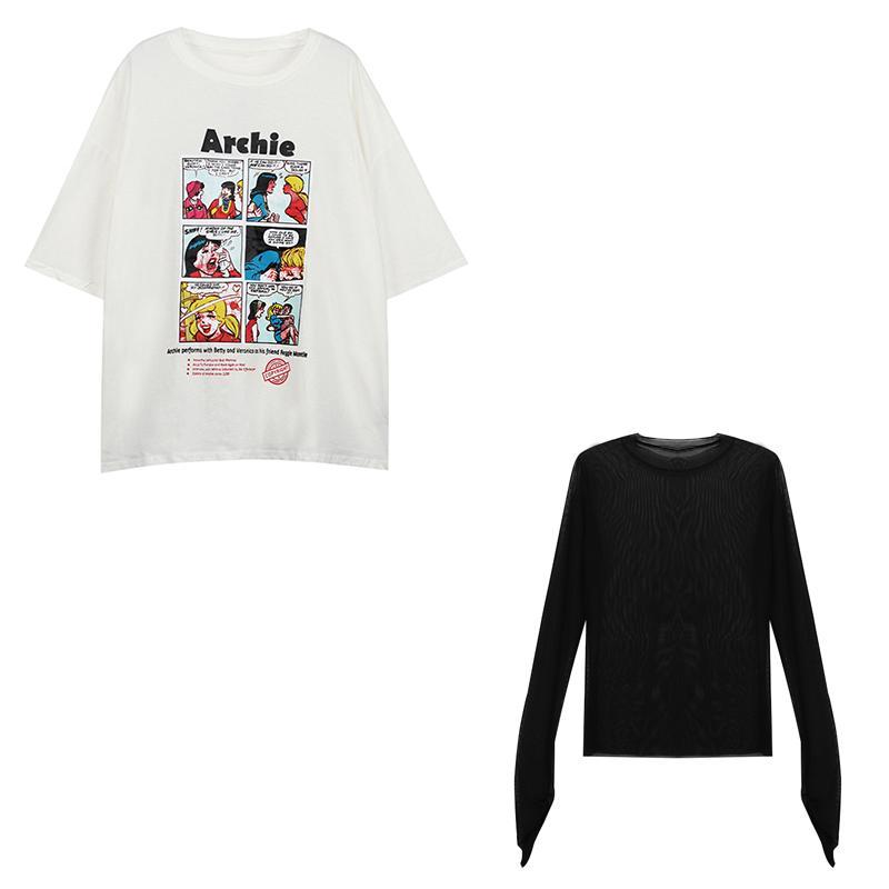 itGirl Shop COMIX CARTOON PRINT T-SHIRT + TRANSPARENT LONG SLEEVE TOP